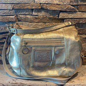 Coach poppy gold hobo bag with crossbody strap